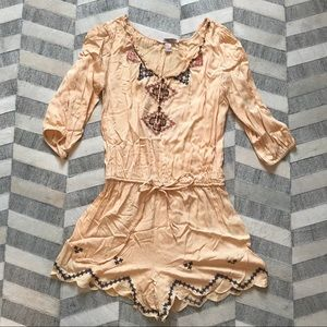 Forever 21 Peach Beaded Romper